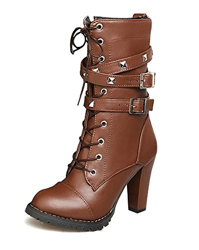 Minetom Womens Ladies Mid Calf Boots Fold Over Long Stretch Winter Leather Shoes Knee Long Block High Heel Boots Sexy Fashion Casual Brown yrumkTZdPl
