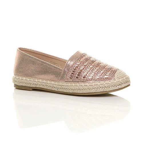 Ajvani Travestissement Chaussures De Taille Espadrilles Plat En Rose Plate Or Mocassins Diamante Dames Plateforme Plate forme wZ6q0X0