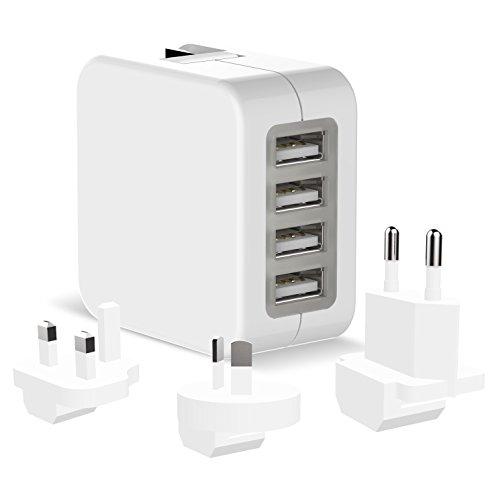 4-Port USB Wall Socket Power Charger/Adapter EU Plug(White) - 6