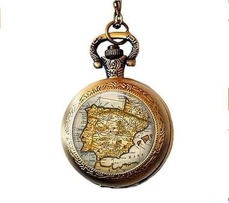España Vintage Mapa – Collar de reloj de bolsillo de mapa – Collar de bolsillo de mapa – joyería