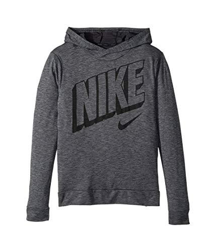 Nike Boys' Breathe Graphic Hoodie Sweat-Wicking Long Sleeve Hooded Tshirt Training Top (Black/Cool Grey/X-Large)