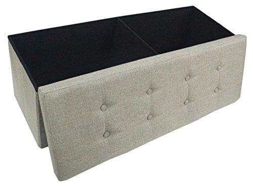 Premium Dark Grey Linen Folding Ottoman Foot Rest Stool Seat Footrest Shoe Storage Organizer Versatile Space-Saving Bench – Large 43 1 4 15 15