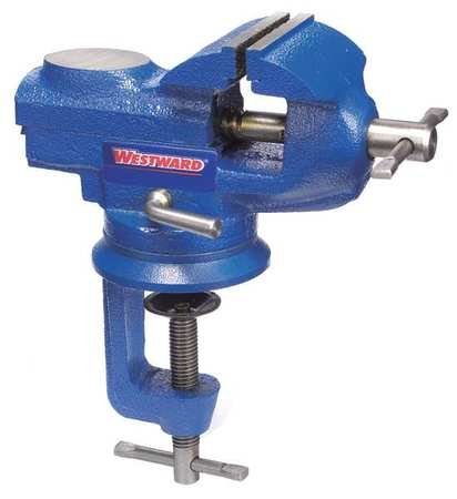 Westward 10D697 Bench Vise, Portable Clamp, Swivel, 2-3/8In