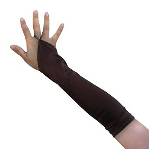 Kitty Brown Womens Shoes - SACAS Elbow Length Fingerless Satin Gloves in Brown one size