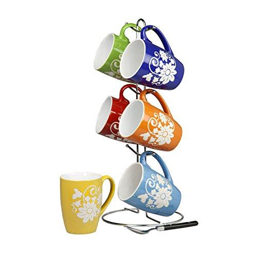 Home Basics 6 Piece 11 Ounce Floral Ceramic Mug Set with Display Stand, Multi color (Set Ceramic Necklace)