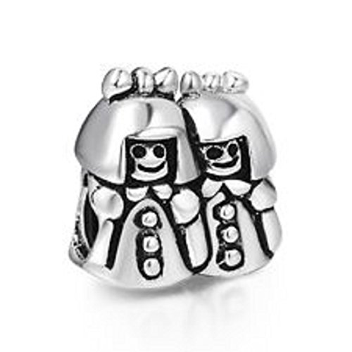 EvesCity(TM) Charms Silver Twin Sisters Sterling Bead For Snake Chain Charm ()