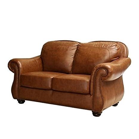 Superb Amazon Com Pemberly Row Leather Loveseat In Camel Brown Creativecarmelina Interior Chair Design Creativecarmelinacom