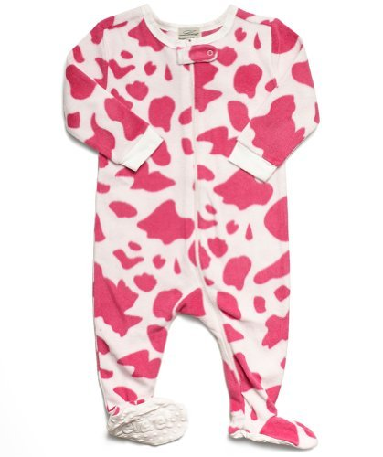 Cow Sleeper - Leveret (F) Footed Pink & White Cow Print Fleece Pajama Sleeper (6-12 Months)