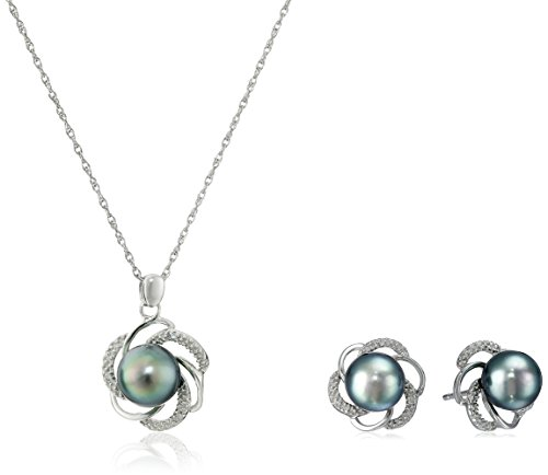 Diamond Pearl Set (Sterling Silver, Tahitian Cultured Black Pearl, and Diamond Pendant Necklace and Earrings Jewelry Set)