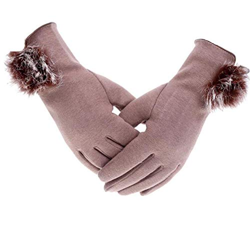 (The small cat Fashion Women's Winter Cashmere Touched Gloves Cashmere Warm Female Gloves,G100 Khaki,One Size)