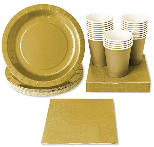 Gold Party Supplies (Serves 24 Guests) Disposable Dinnerware Set Includes Paper Plates, Cups and Napkins ()