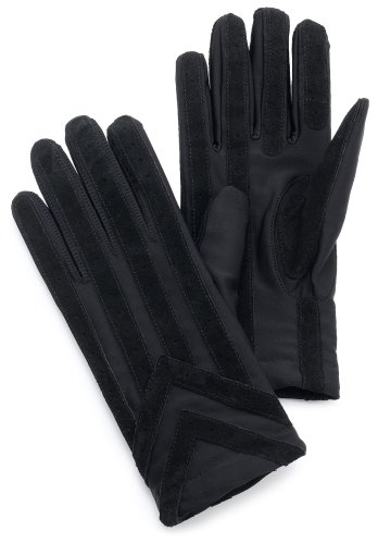 Isotoner Men's Spandex Glove With Suede Palm Strips,Black,X-Large (Glove Palm Suede)