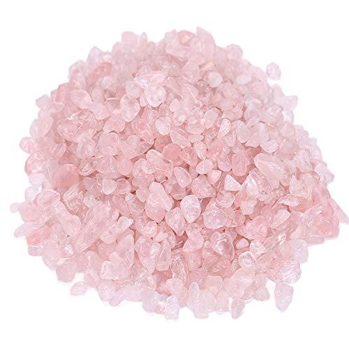 Rose Chip Stone Quartz - favoramulet Rose Quartz Tumbled Stone Chips, Polished Crushed Healing Crystal Quartz Pieces Vase Filler 1 LB