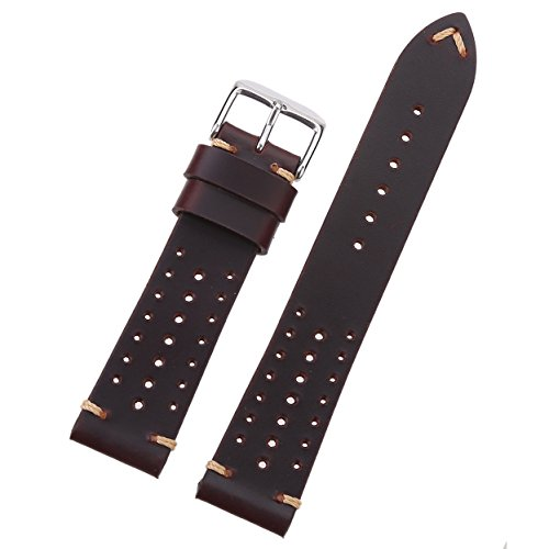 EACHE Genuine 18mm Racing Leather Watch Band,Hole Version Classical Watch Strap for DW,Longines (Longines Watch Strap)