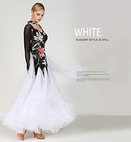 2d91ae98b2d75 発表会競技会試合ドレス 社交ダンスドレス 大きい レディース 社交ダンス衣装 ロングワンピース XXL ホワイト XXL