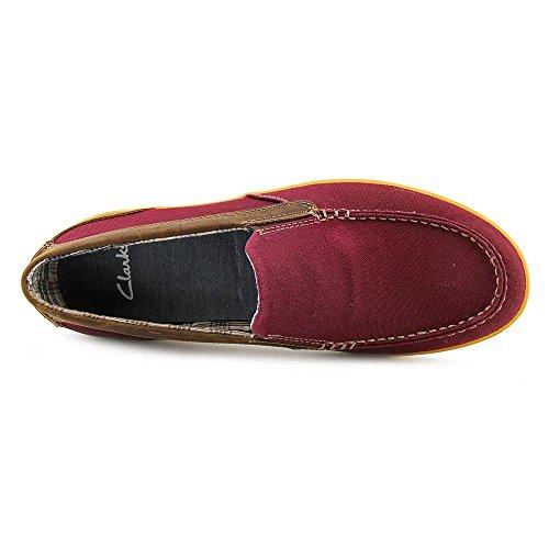 Clarks Boid Knoll Hommes En Cuir Slip-on Chaussure Rouge Toile