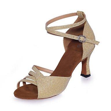 Misteriosa directa @ de la mujer sparkling glitter zapatos de baile Latina de purpurina brillante sandalias de mecánico heelpractice/profesional/interior/ dorado