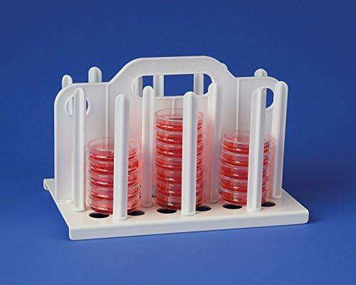 54 Places Bel-Art 60mm Petri Dish Rack; 10/½ x 6/¾ x 6/¾ in Plastic F18991-0060