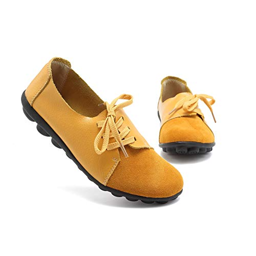 (KISFLY Comfortable Flats for Women Ladies Girls Yellow Slip on Loafers Round Toe Casual Leather Shoes Size 9.5 Driving Flats)
