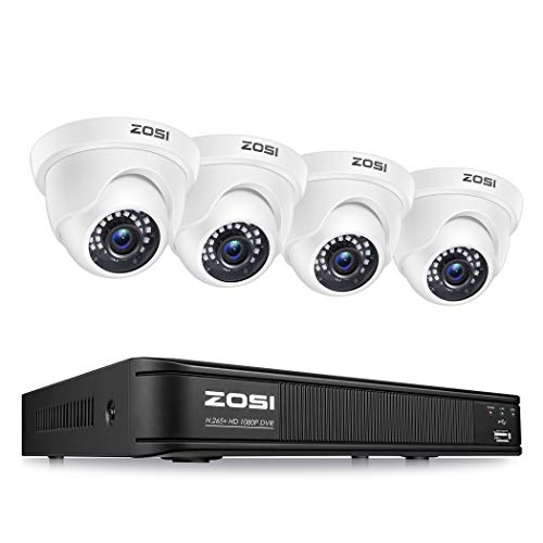 ZOSI 1080P H.265+ Home Security Camera System,5MP Lite 8 Channel Surveillance DVR and 4 x 1080p Weatherproof CCTV Dome…
