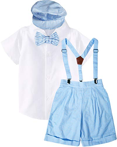 Baby Toddler Boys Blue Checkers Suspender Bowtie Hat Short Set 5-Piece Outfit ()