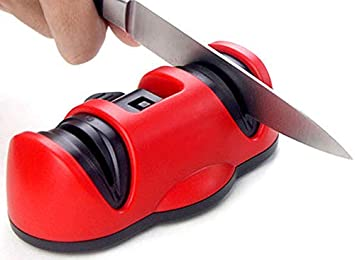 VOOA Afilador Cuchullos Profesional de Cocina de 2 Etapas, Afilador Manual con Ventosa para Cocina Varios Tamaños Cuchillos