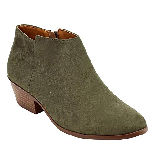 - Soda Women's Western Ankle Bootie w Low Chunky Block Stacked Heel Khaki Faux Suede (10)