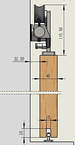 DIYHD 5FT Stainless Steel Top Mounted Bi-parting Sliding Barn Closet Cabinet Wood Door Track Hardware Kit by DIYHD (Image #3)