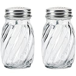 Kangaroo's Glass Swirl Salt & Pepper Shaker with Lids, 3¼ oz. (Set of 2)