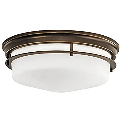 Norwell Lighting 5633-BB-MO Galley - Three Light Flush Mount, Burnished Bronze Finish with Matte Opal Glass