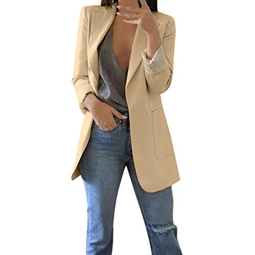 iFOMO Thin Blazer Women Summer OL Slim Fitted Blazer Boyfriend Blazer Khaki XL