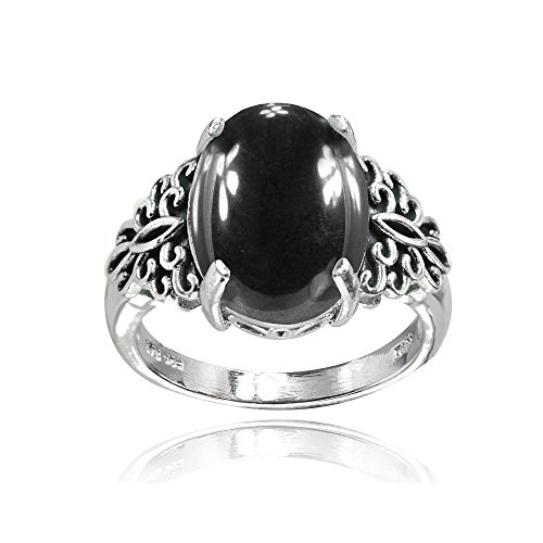 Sterling Silver Simulated Onyx Oxidized Bali Inspired Filigree Oval Ring, Size 7
