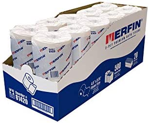 Merfin 2-PLY Toilet Paper, 20 Count, Value Pack, 500 Sheets Per Roll, 10,000 Sheets/Case, Balanced Softness with absorbency, Super Soft, Bulk Toilet Paper for Home and Office, Slim Dispensing Box