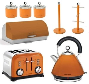 morphy richards 8pc kitchen set kettle toaster in orange kitchen home. Black Bedroom Furniture Sets. Home Design Ideas
