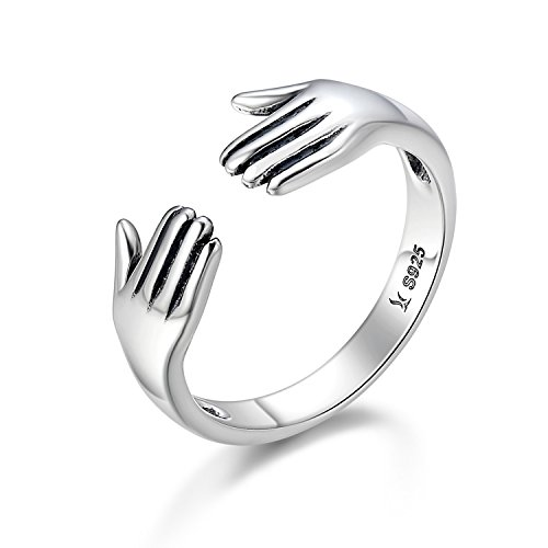 925 Sterling Silver Hands Embrace Open Rings Romantic Style Couple Expandable Rings for Women Men - Silver Warehouse