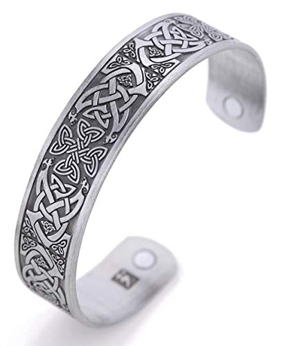 TEAMER Magnetic Bracelet Celtic Knot Irish Cross Health Care Therapy Engraved Cuff Bangle for Men (Antique -