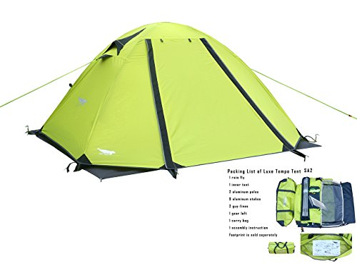 197 & Luxe Tempo 2 Person 4 Season Tents Freestanding for Camping Backpacking Aluminum Poles All Weather Tested u0026 Approved 2 Door 2 Vestibules Reflective