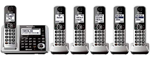 Panasonic KX-TGF375S + 1 KX-TGFA30S Handset (6 Handsets Total) Bluetooth Cordless Phone System with Dual Keypad (Renewed) (KX-TGF370S + 5, KX-TGF372S + 4, KX-TGF373S + 3, KX-TGF374S + 2) (Best App For Fake Caller Id)