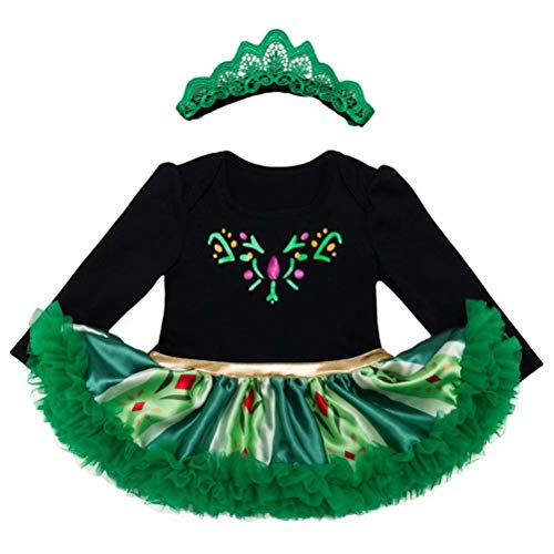 Tsyllyp Baby Girls Long Sleeve Halloween Romper Anna Elsa Tutu Bodysuit ()