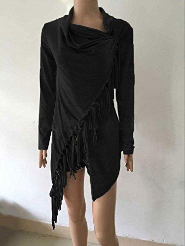 Cardigan Pull Vin Wlgreatsp Outwear Glands Manches Femmes Noir Longues Beauty Châle Ourlet Cape n8xvnHgF
