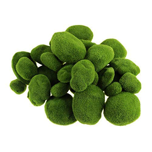 Best Starloop 40 Pieces Artificial Moss Rocks Decorative Faux Green Moss Covered Stones (3 Size)