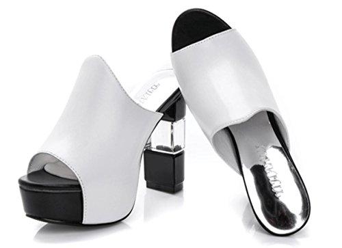 YCMDM Damen Sandalen Sommer Sandalen PU Casual Chunky Ferse Schwarz Weiß , white , us6.5-7 / eu37 / uk4.5-5 / cn37