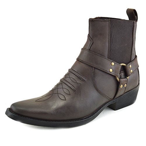 Brown Mens Boots Cowboy Boots 2 Leather Biker Ankle dY8Y4xrnX