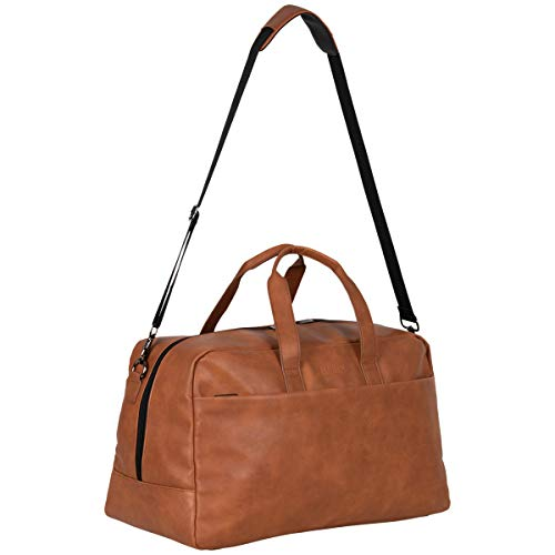 Kenneth Cole Reaction Port Stanley 20″ Pebbled Vegan Leather Carry-On Duffel/Travel Duffle Bag, Cognac