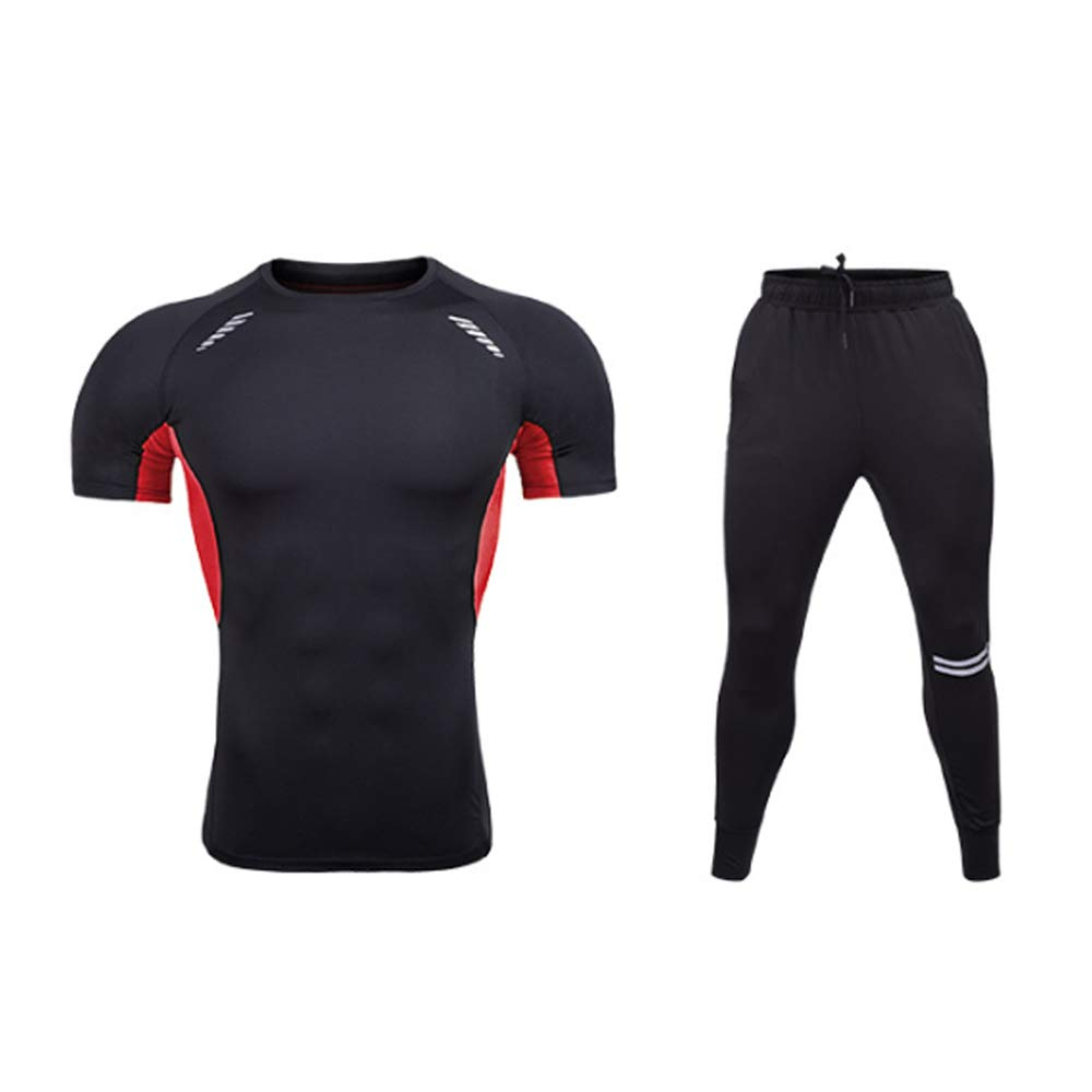 QJKai Herren-Fitness-Gym-Bekleidungs-Set, eng anliegende kurzärmlige Kleidung Lässige Sport-Laufbekleidung Trainings-Jersey-Set mit 2 Stück
