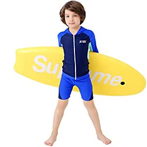 VertAst Boys 2 Pieces Swim Set Surfing Long Sleeve Hoodie Sun Protective Top Swim Jammer shorts Suit for Age 2-13, Hoodie Blue, S/2~3 years