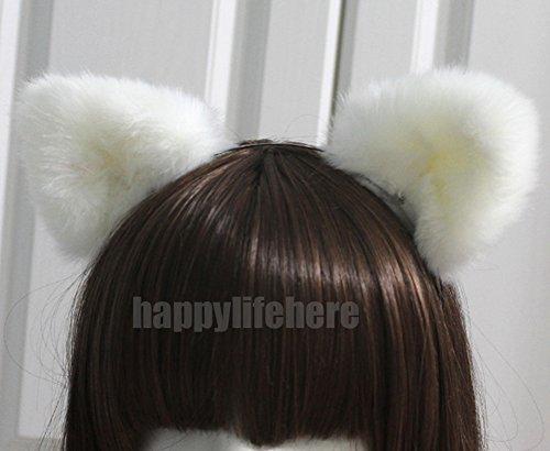 Happylifehere Furry Cat Ears Headband Bear Ears Hairband For Halloween Cosplay Prop White -