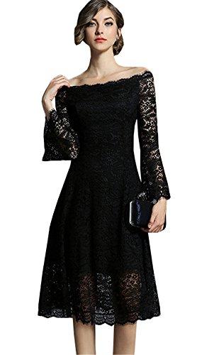 JOTHIN 2018 Sexy Spalle Scoperte Dress Donna Elegante Pizzo Manica a 3/4 Una Gonna di parole Tinta unita Floreali Sera Vestito Nero