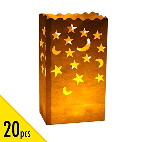 Paper Bag Halloween Luminaries (20 pcs White Luminary Candle Bags Special Lantern Luminary Bag with Stars Moon Durable and Reusable Fire-Retardant Cotton Material for Wedding Valentine Reception Engagement Event Marriage)