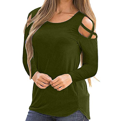 (Sunmoot Clearance Sale 2019 Women's Sexy Cold Shoulder Print Strappy Short Sleeve Long Sleeve T-Shirt Summer Casual Loose Off Shoulder Elegant Blouse Tunic Tops)